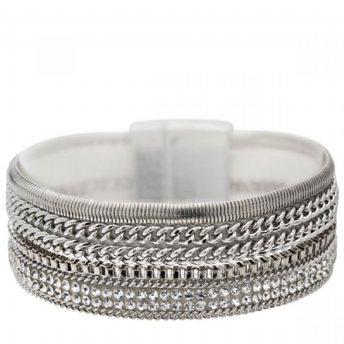Bisoux Jewellery Magnetic Multi Strand Faux Suede Backed Bracelet in Silver
